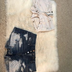 2 American Eagle shorts. White and jean,  size 6